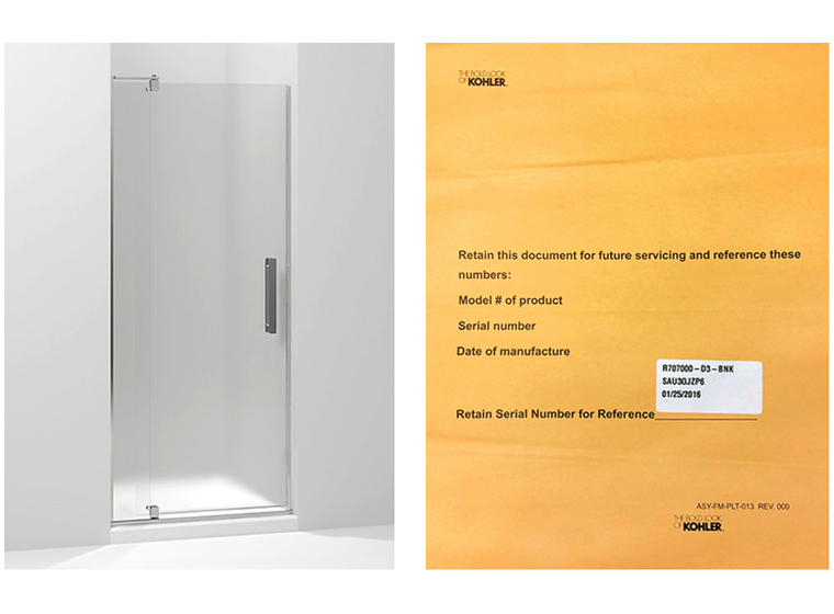 shower doors that contain few metal parts will not include a label on the product - Kohler Shower Doors