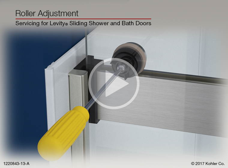 video roller adjustment for levity sliding shower and bath doors