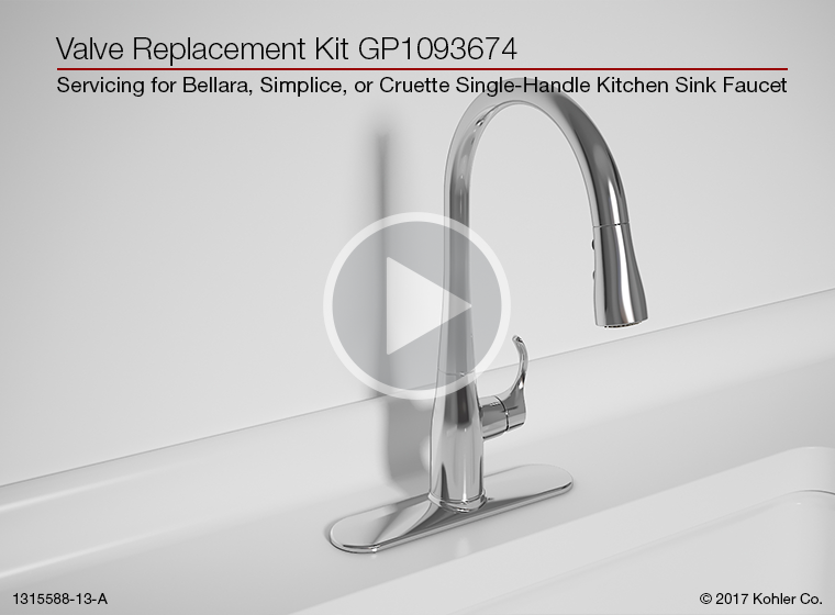 Instructional Video   Valve Replacement For Bellera®, Simplice®, Or  Cruette® Single Handle Kitchen Sink Faucets